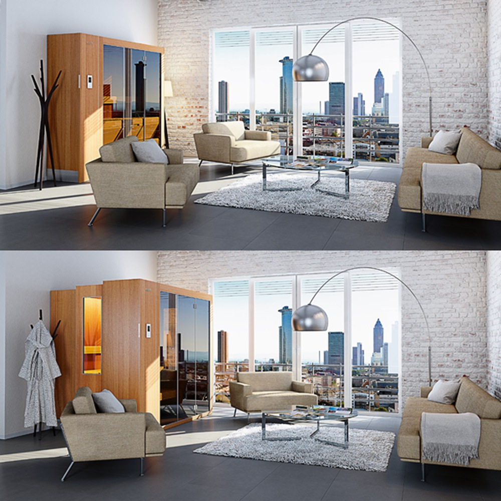 ausfahrbare sauna einmal bitte schrank ffnen trendblog. Black Bedroom Furniture Sets. Home Design Ideas