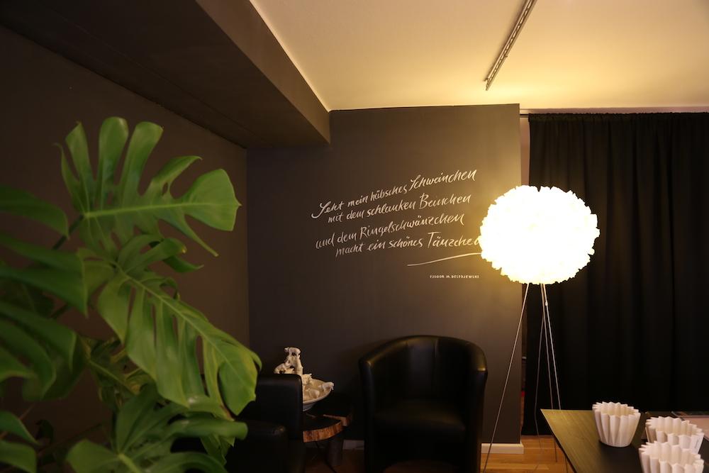 Tafelfarbe Wandgestaltung mit Zitat
