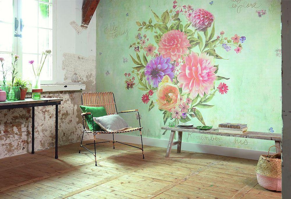 Nachhaltig Blumen Tapete