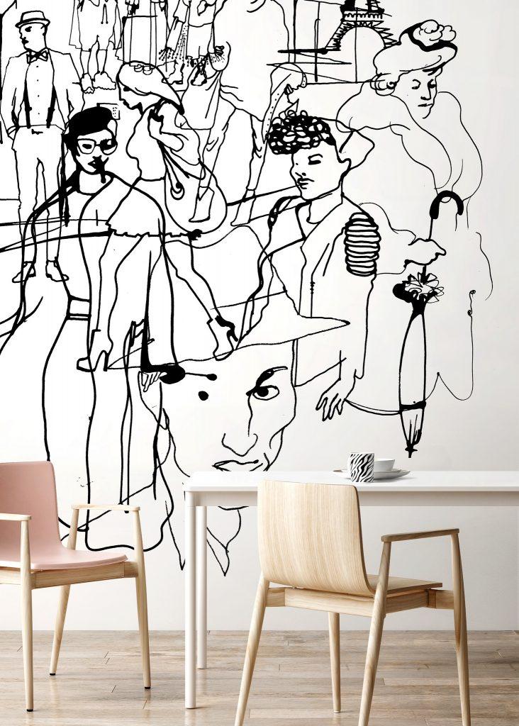 Zeichnungen auf Tapete