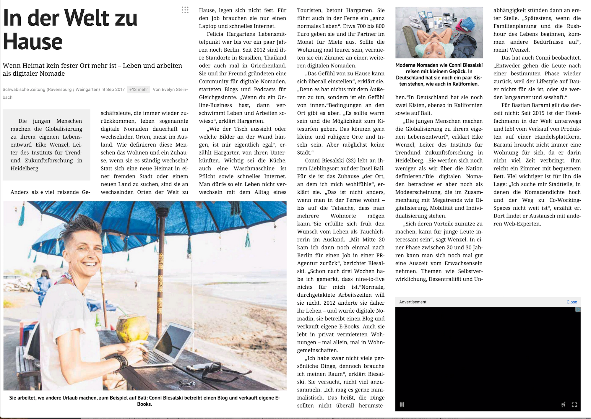 Digitale Nomaden Artikel Evelyn Steinbach