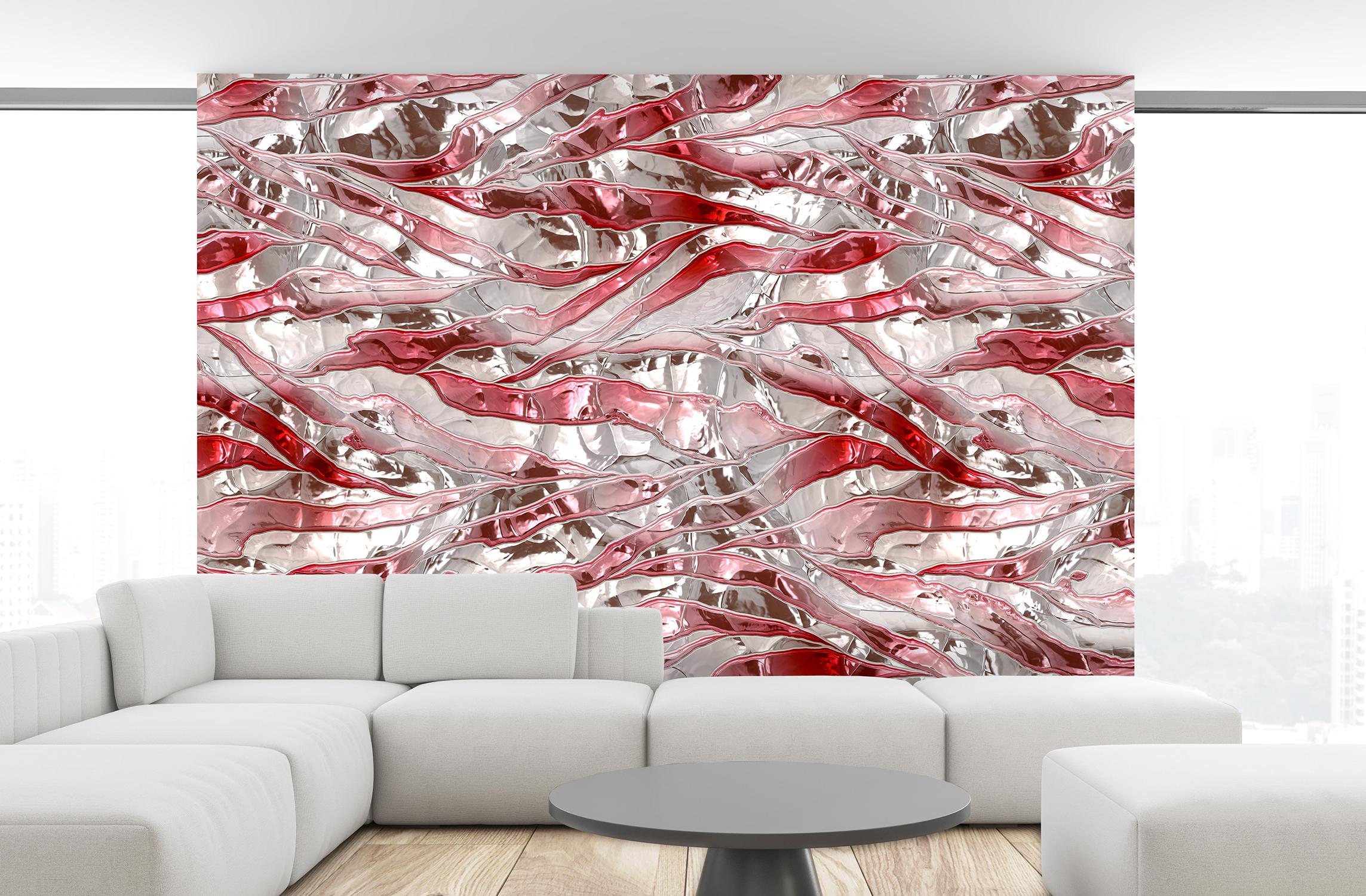 Metalloptik-Knitterstreifen-weiss-rot