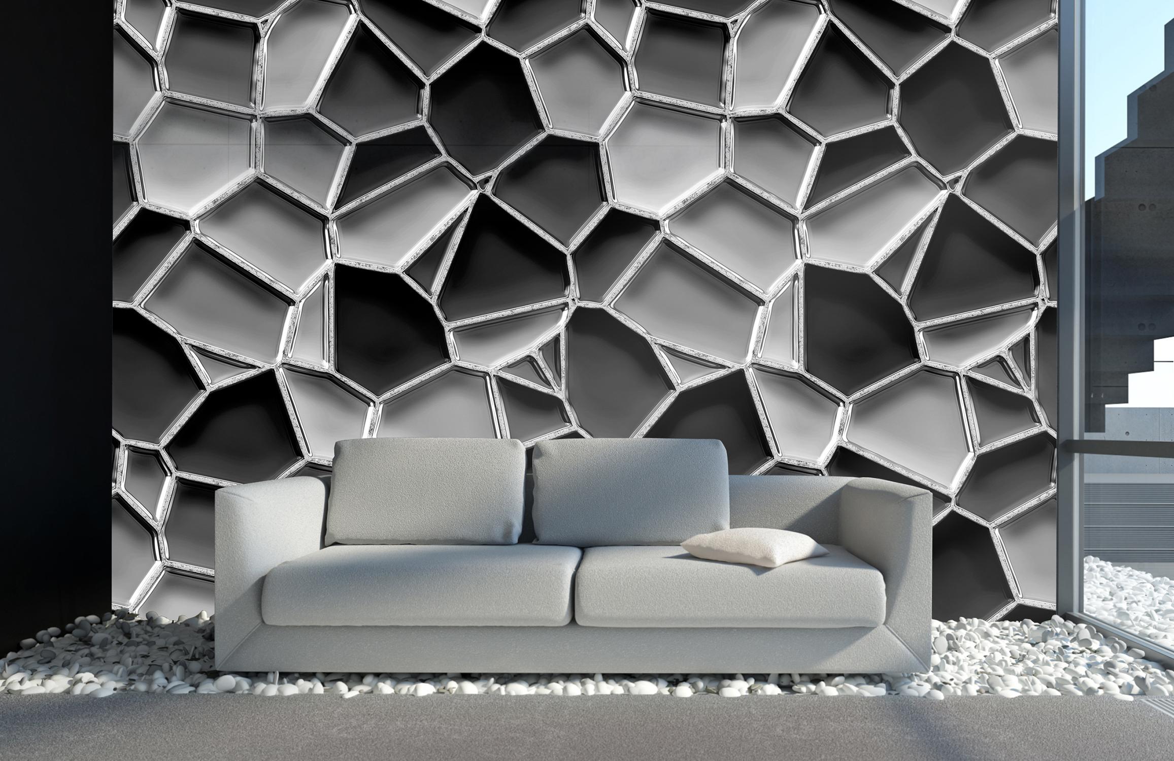 Metalloptik-Wabenmosaik-grau